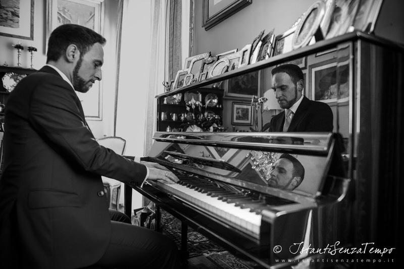 A groom playing piano
