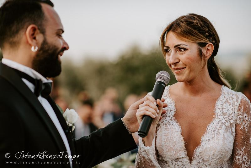 Wedding vows during a wedding ceremony