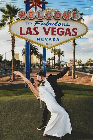 A casquet under Las Vegas sign