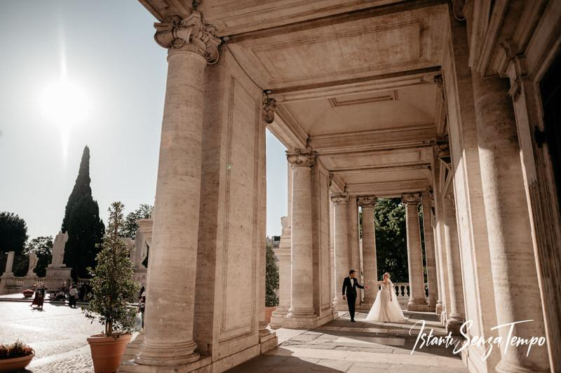 Bride and groom portrait at Campidoglio in Rome