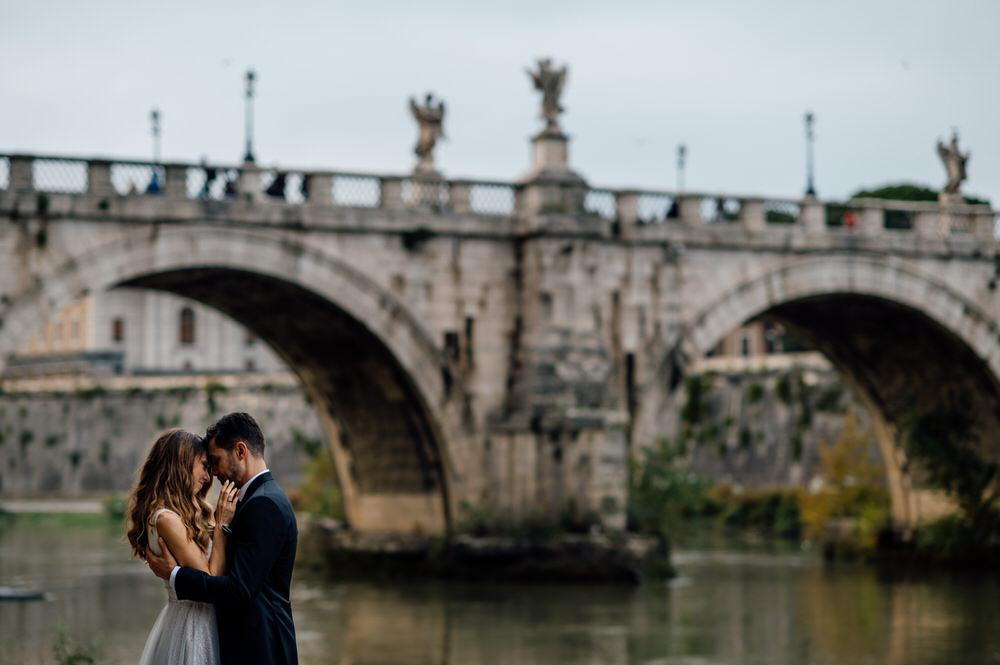 Wedding photography Rome Bridge of Angels